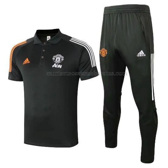 camisetas polo y pantalones manchester united negro 2020-21