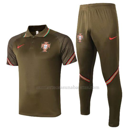 camisetas polo y pantalones portugal marrón 2020-21